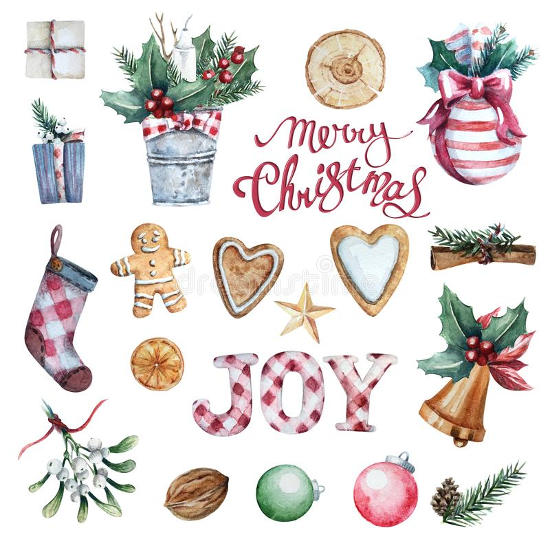 Watercolor Merry Christmas set stock illustration
