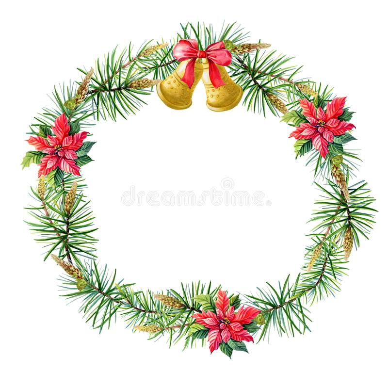 Watercolor Merry Christmas Wreath with gold bells, Red poinsettia flowers,pine,spruce,bow on white background. royalty free illustration
