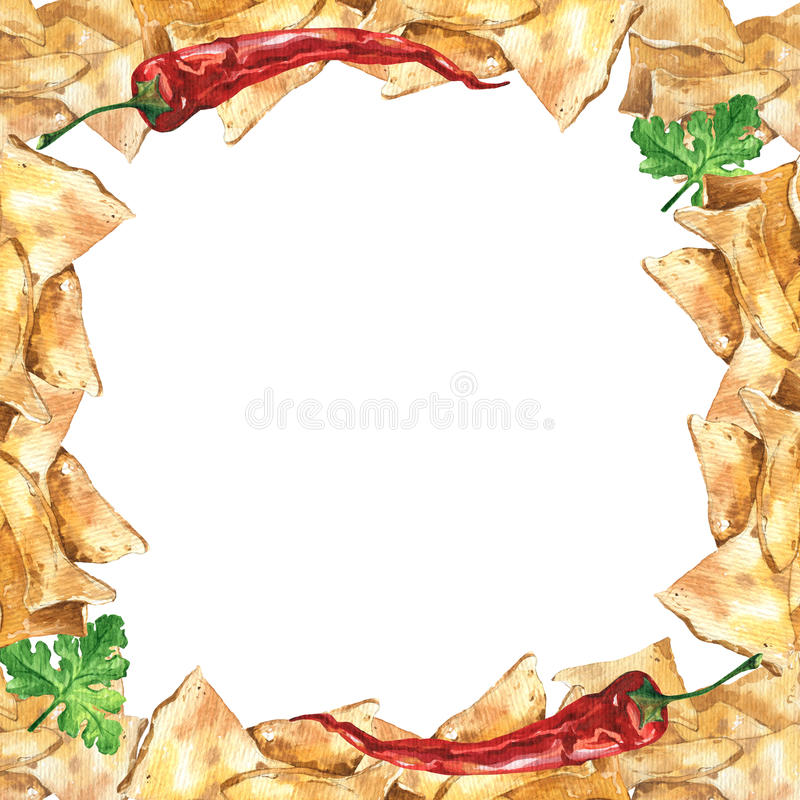 Watercolor Mexican Nachos And Salsa Sauce Frame. Mexican Food. Stock ...
