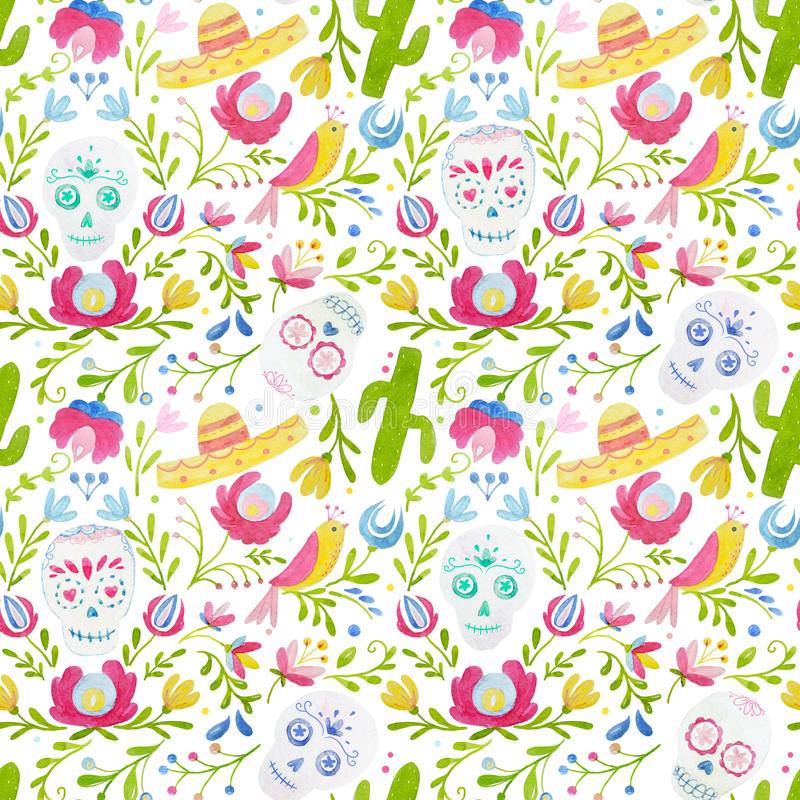 Watercolor mexican style pattern stock illustration