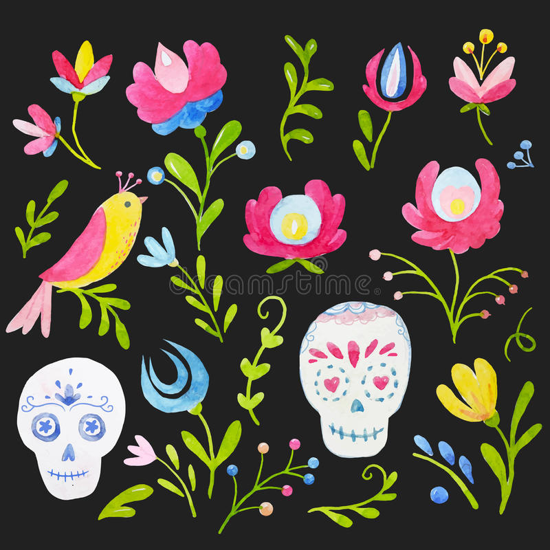 Watercolor mexican style vector set vector illustration