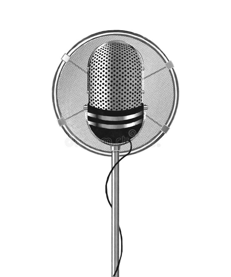 Watercolor microphone vector illustration