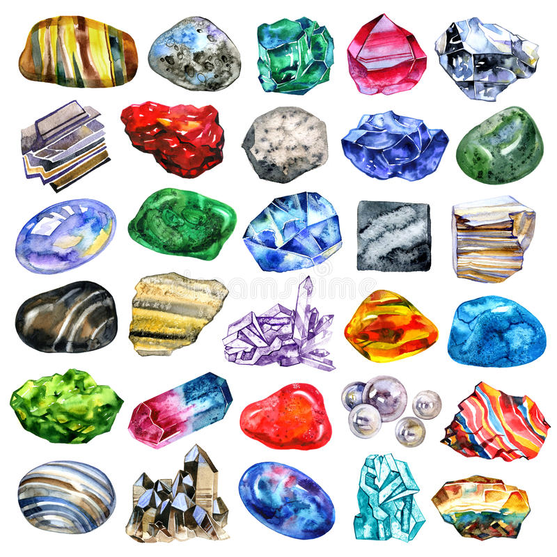 Watercolor minerals and gems collection on white background stock illustration