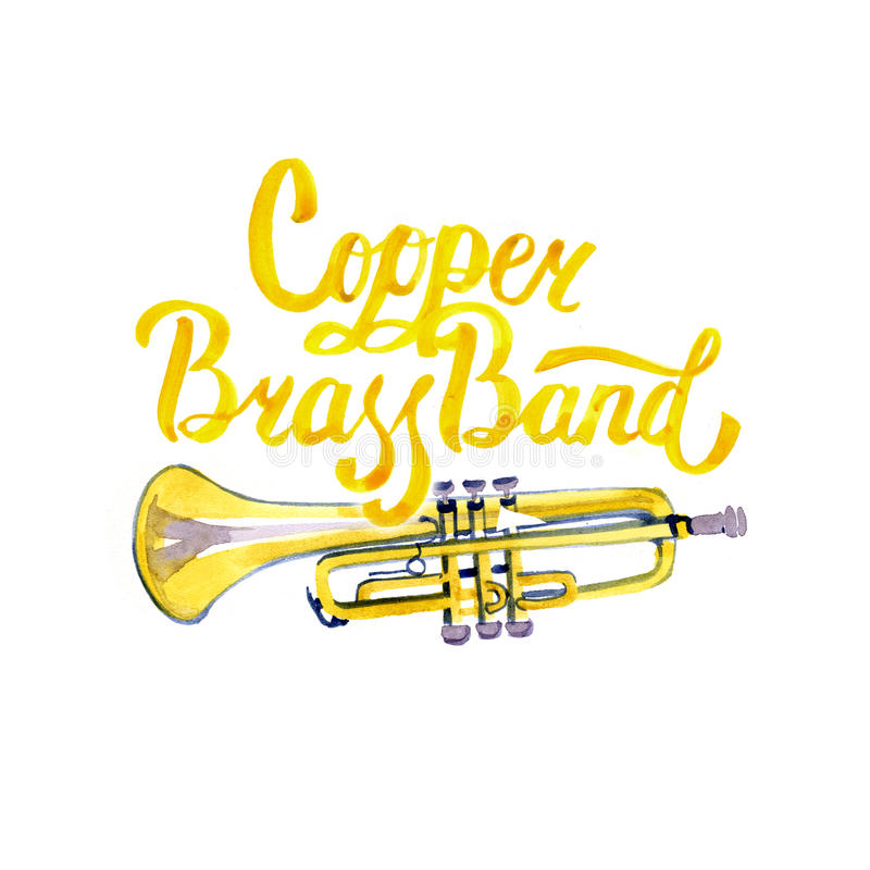 Watercolor misic lettering calligraphic inscription - copper brass band vector illustration