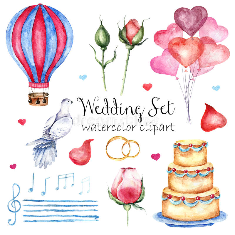 Watercolor modern elegant wedding style set. Various objects: bride bouquet with roses, peony, pink shoes, naked cake royalty free stock image