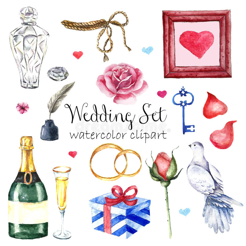 Watercolor modern elegant wedding style set. Various objects: bride bouquet with roses, peony, pink shoes, naked cake royalty free stock photos