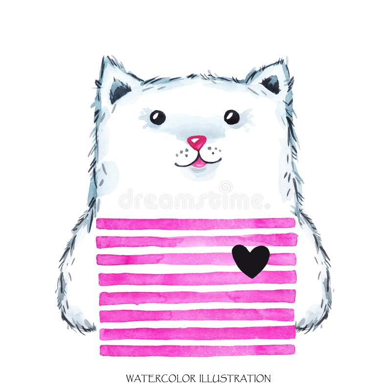 Watercolor modern Kitty in bright wear. Cute animal. Cat. Children cartoon illustration. Can be printed on T-shirts. Bags, posters, invitations, cards, phone royalty free illustration
