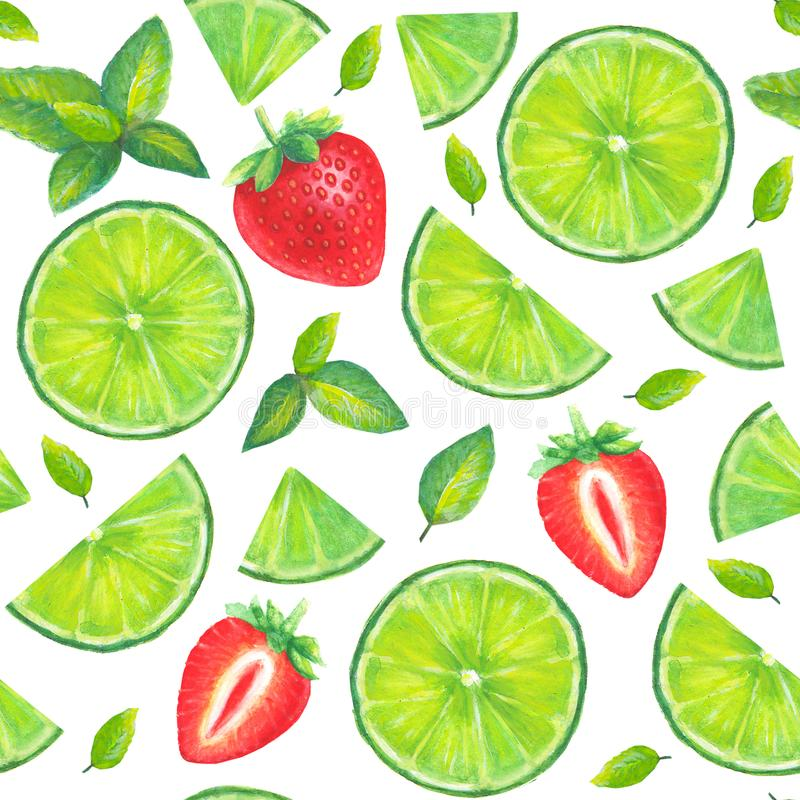 Watercolor mojito seamless pattern royalty free stock photography