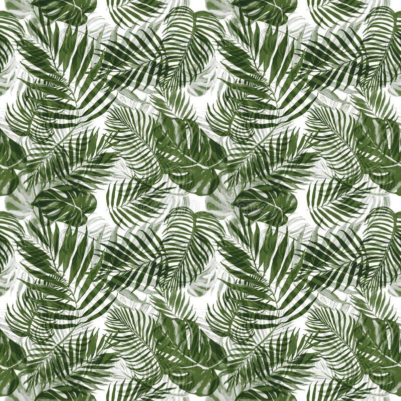 Βοτανικό άνευ ραφής σχέδιο φύλλων Watercolor τροπικό με τα φυτά Όμορφος πράσινος επαναλαμβάνει την τυπωμένη ύλη ελεύθερη απεικόνιση δικαιώματος