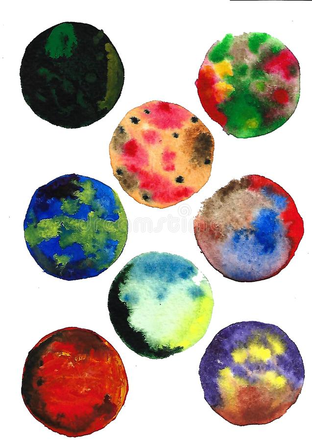 Watercolor moon, abstract art, round elements, textures vector illustration