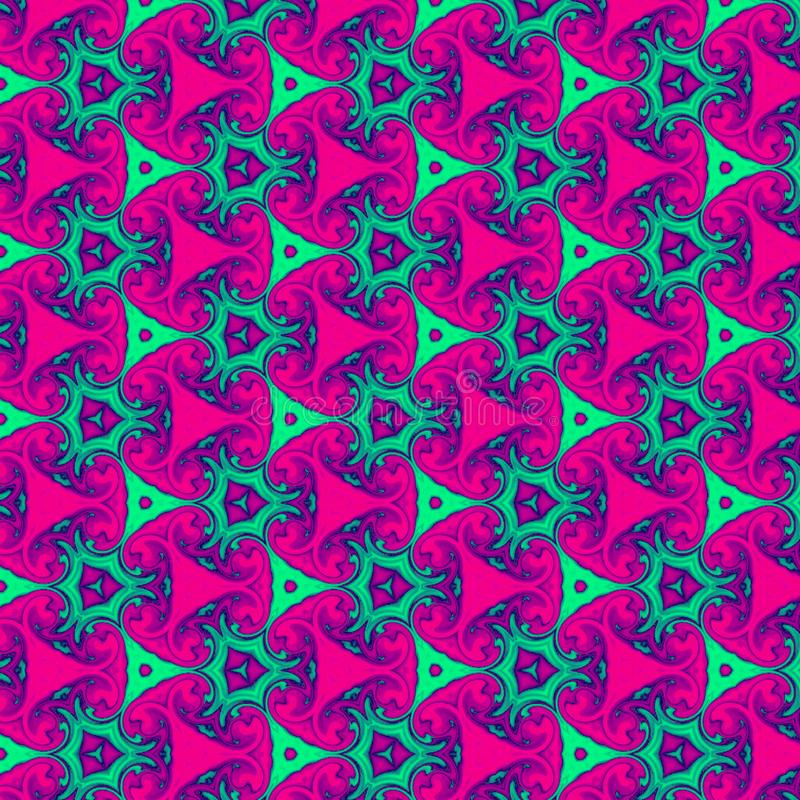 Watercolor mosaic texture. Teal pink kaleidoscope background 3d. Painted geometric pattern. stock illustration