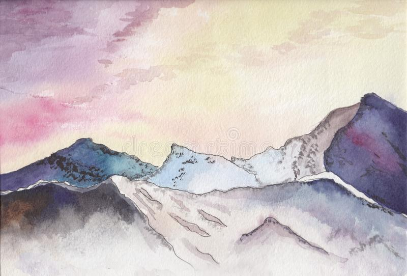 Watercolor mountain landscape. Watercolor sketch of the mountains at sunset.  vector illustration