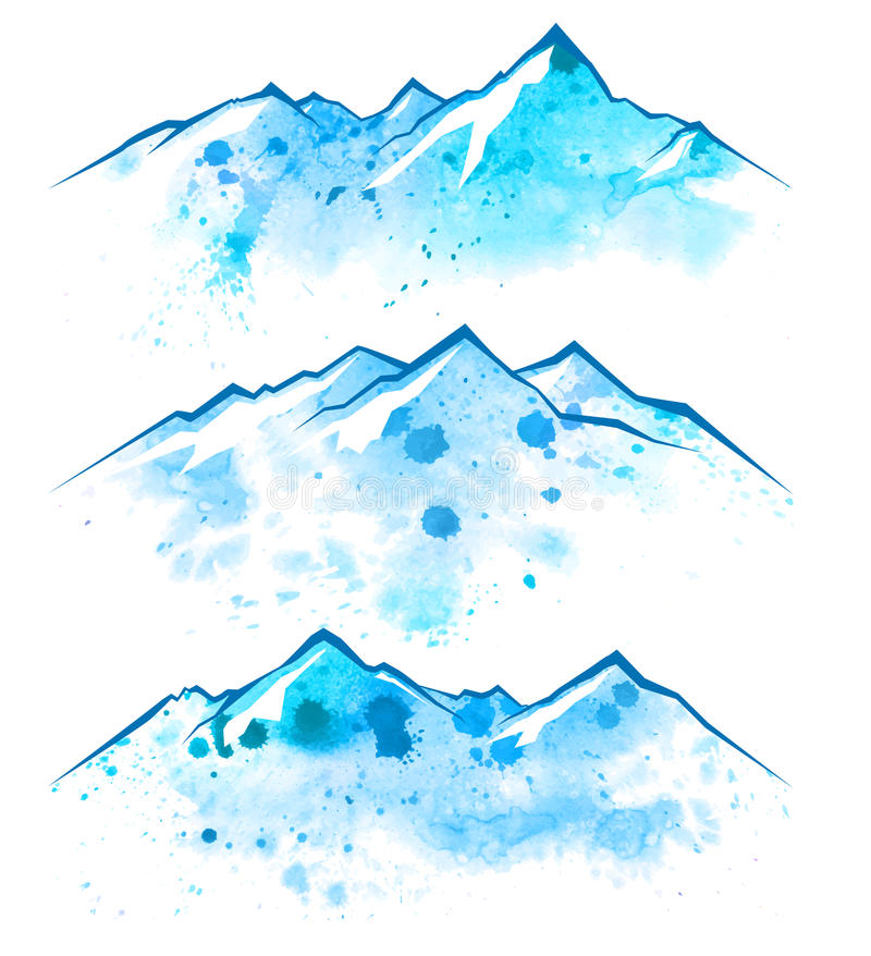 Watercolor mountains borders royalty free illustration