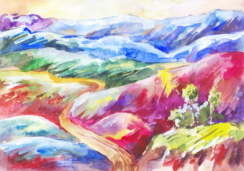 Watercolor multi-colored mountains. Bright  fantastic landscape. Bright multi-colored mountains. Watercolor painting. Fantastic background. Hand-drawn landscape vector illustration