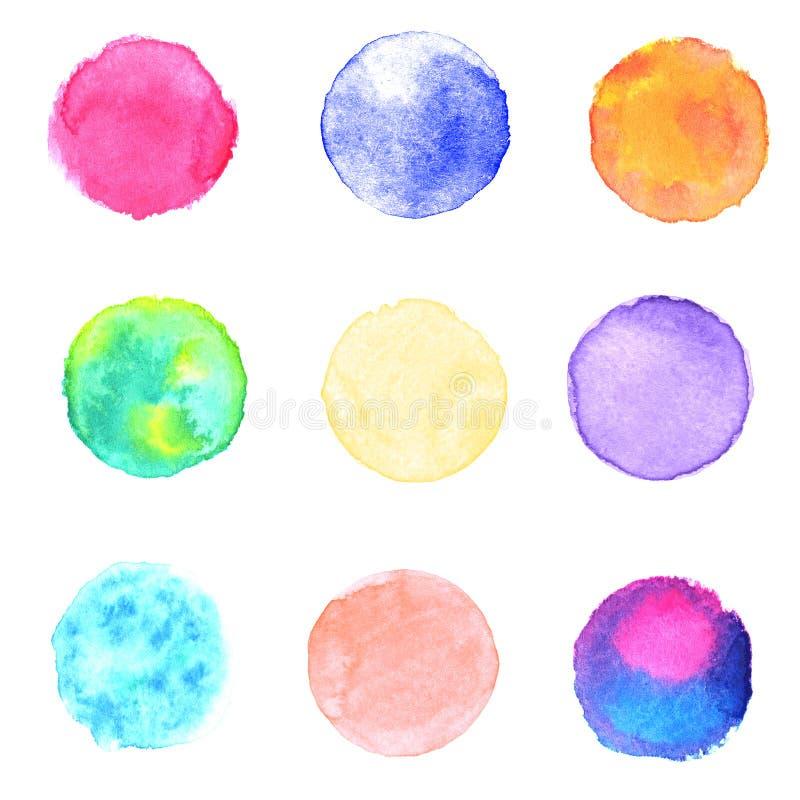 Watercolor multicolored circles collection vector illustration