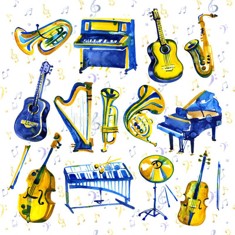 Watercolor musical instruments set. All kinds of instruments like piano, saxophone, trumpet, drums and others. stock illustration