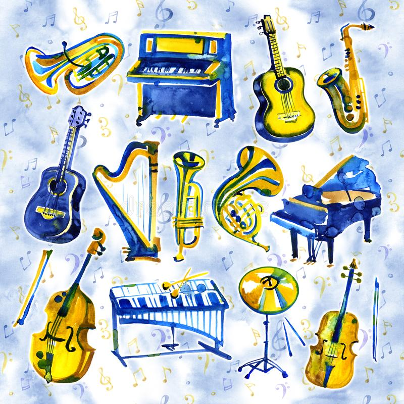 Watercolor musical instruments set. All kinds of instruments like piano, saxophone, trumpet, drums and others. royalty free illustration