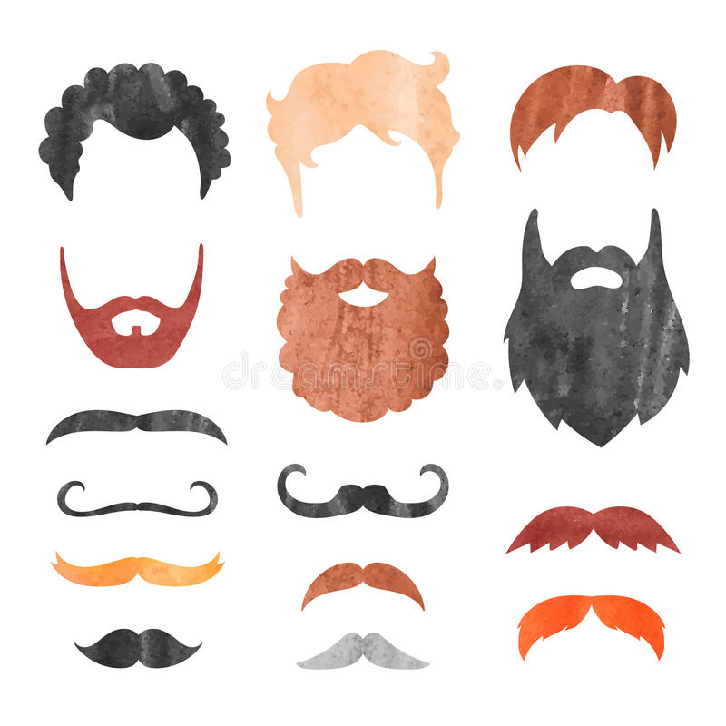Watercolor mustache, beard and haircut set. Birthday party men photo booth props. Vector illustration stock illustration