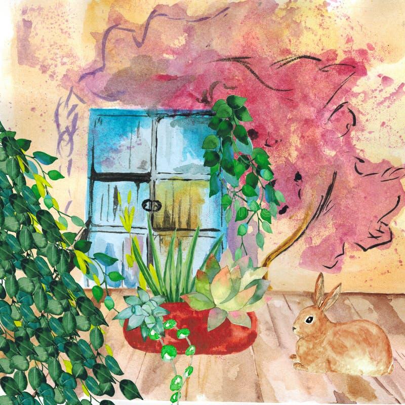 watercolor Nat?rliche Farbe von den Bl?ttern des Grases die Wand mit einem alten Fensterhintergrund bedeckend F?r Entwurf Karten stock abbildung
