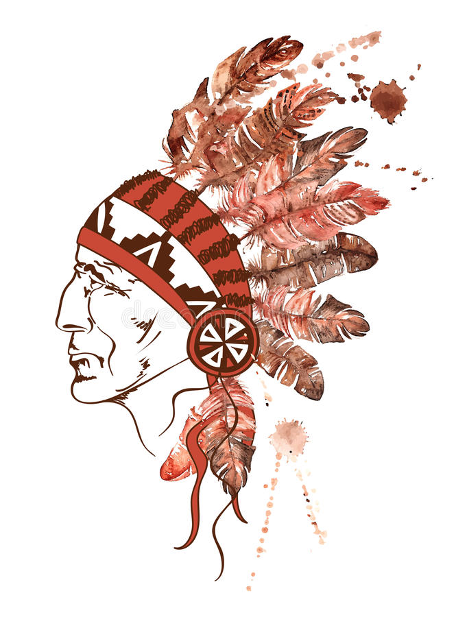 Watercolor Native American Indian chief vector illustration