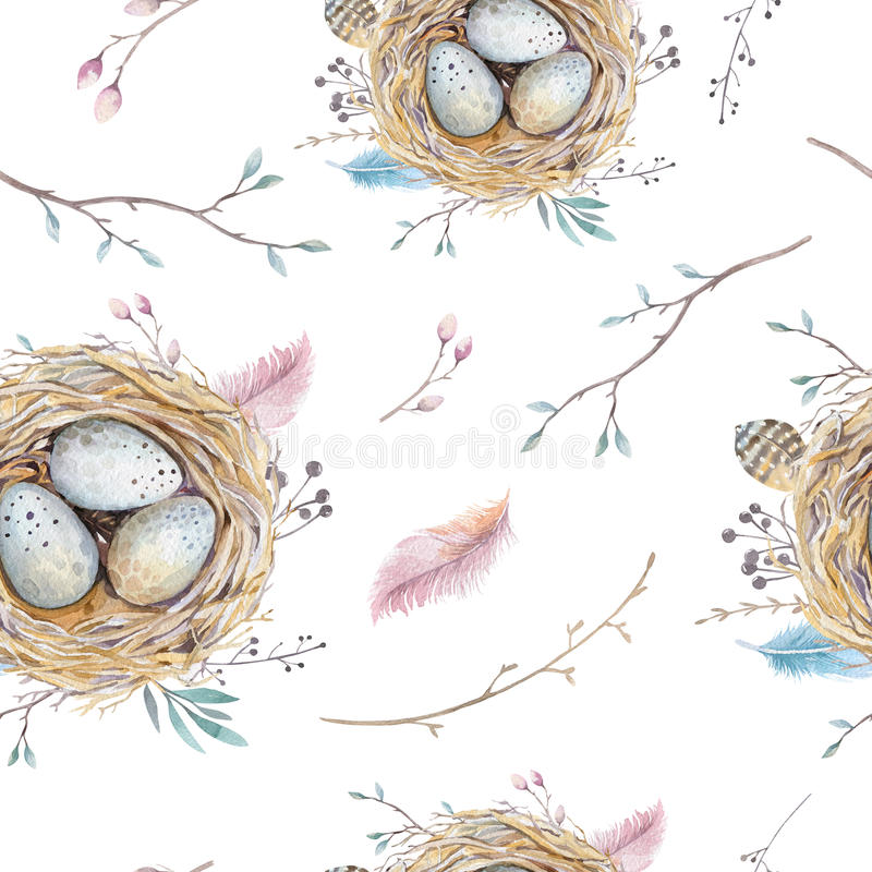Watercolor natural floral vintage seamless pattern with nests,wreath, eggs and feathers . Art decoration bird vector illustration