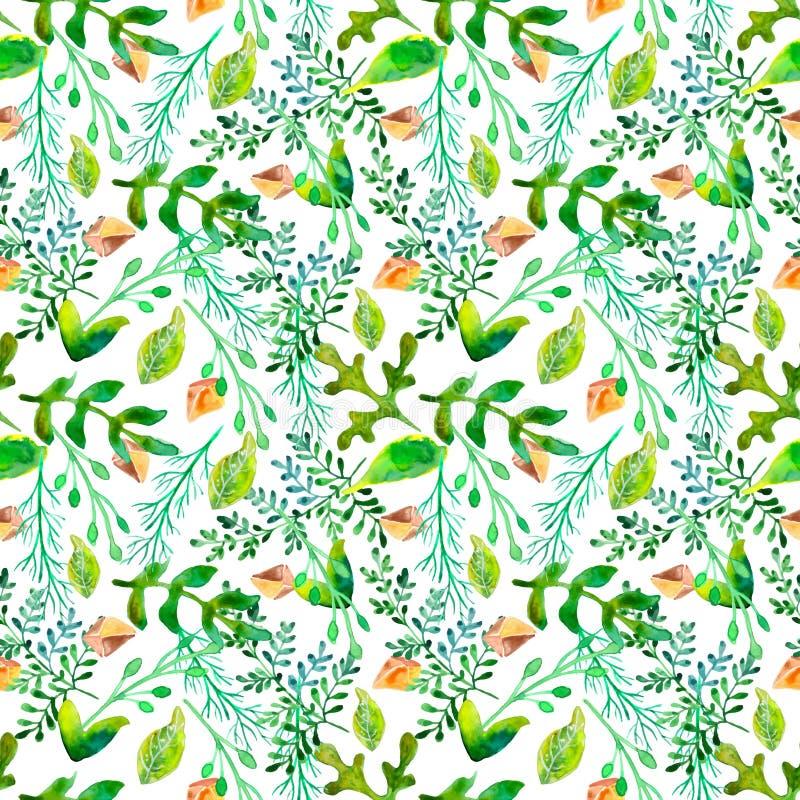 Watercolor natural seamless pattern stock illustration