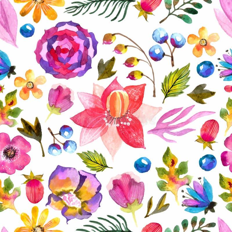 Watercolor natural seamless pattern vector illustration