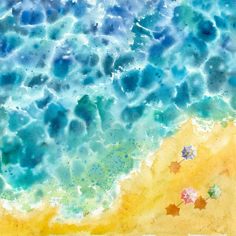 Watercolor nature abstract background. Blue water. royalty free illustration