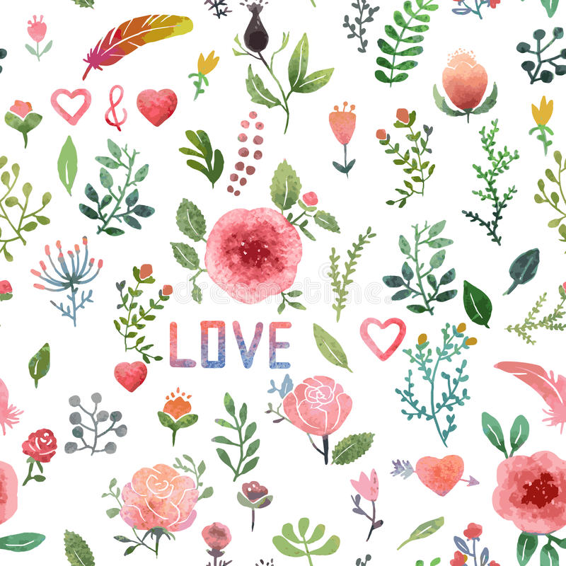 Watercolor nature pattern royalty free stock images