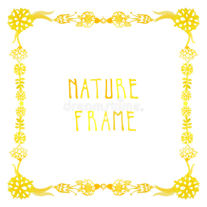 Watercolor nature vector frame with handwritten text with flowers, berries and plants stock illustration