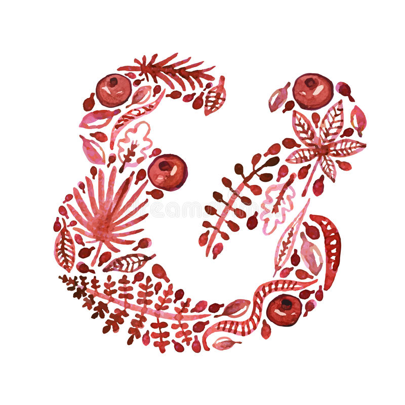 Watercolor nature vector red ampersand with leaves, garnets and other plants (green). royalty free illustration