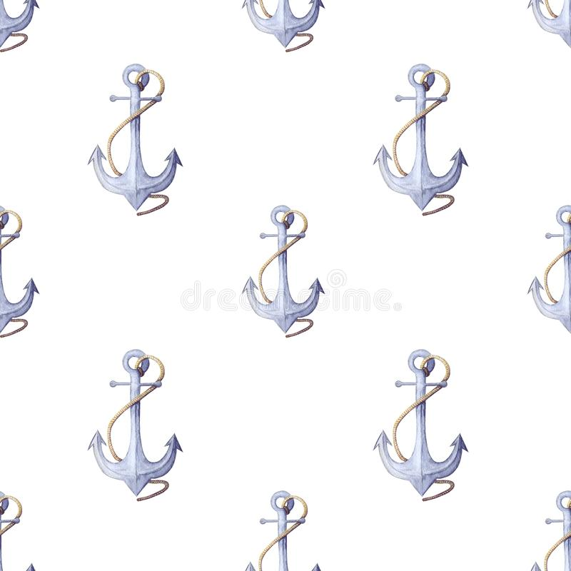 Watercolor nautical pattern. seamless pattern of blue anchor with rope. Isolated on white backdrop. decorative Nautical trendy pattern of ancor. Hand painted vector illustration