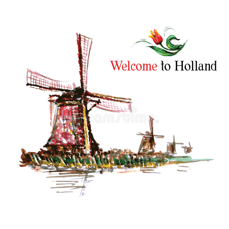 Watercolor Netherlands background. royalty free illustration