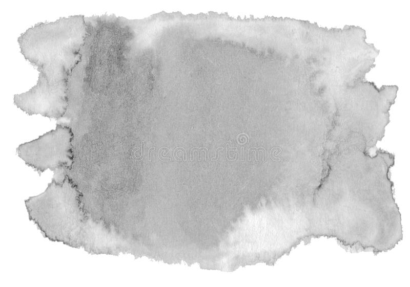 Watercolor neutral gray background with clear borders and divorces. Black and white watercolor brush stains. With copy space. For text royalty free illustration