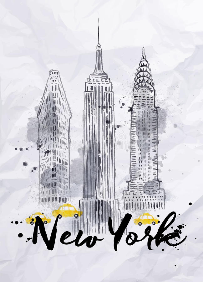 Watercolor New York buildings vector illustration