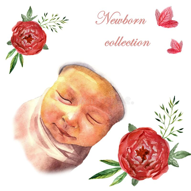 Watercolor newborn sleeping baby in floral frame royalty free stock images