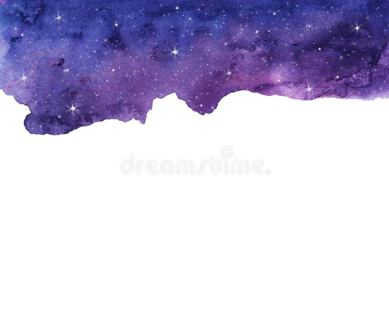 Watercolor night sky background with stars. Cosmic layout with space for text royalty free illustration