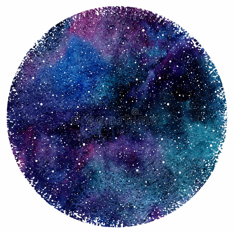 Watercolor night sky with colorful stains and stars vector illustration