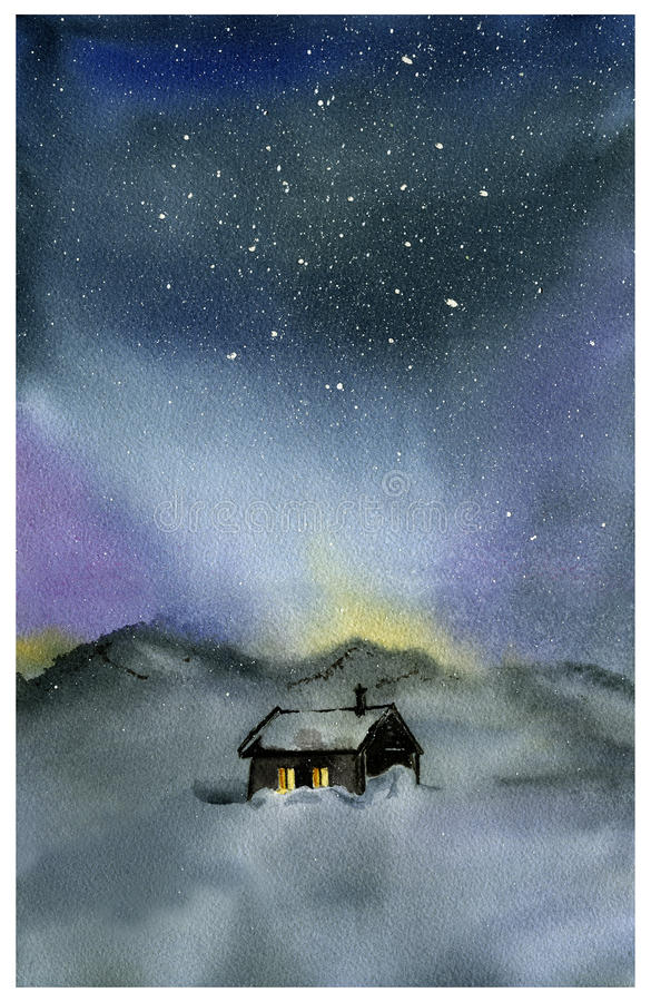Watercolor night sky and house vector illustration