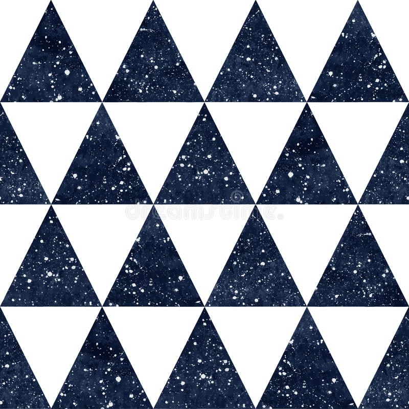 Watercolor night sky triangles seamless vector pattern. stock illustration