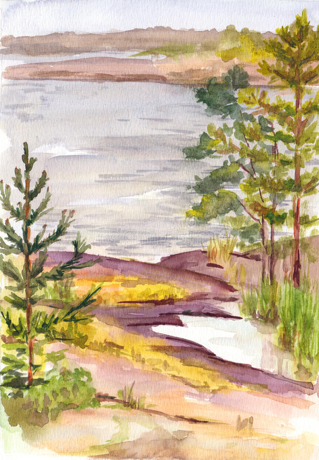 Watercolor nord landscape with lake and rocky shore stock illustration