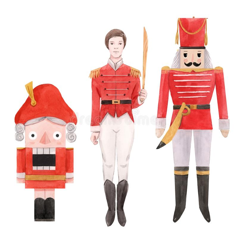Free Watercolor Nutcracker Ballet Christmas New Year Fairy Tale Characters Soldiers Isolated Illustrations Set Royalty Free Stock Image - 164106816