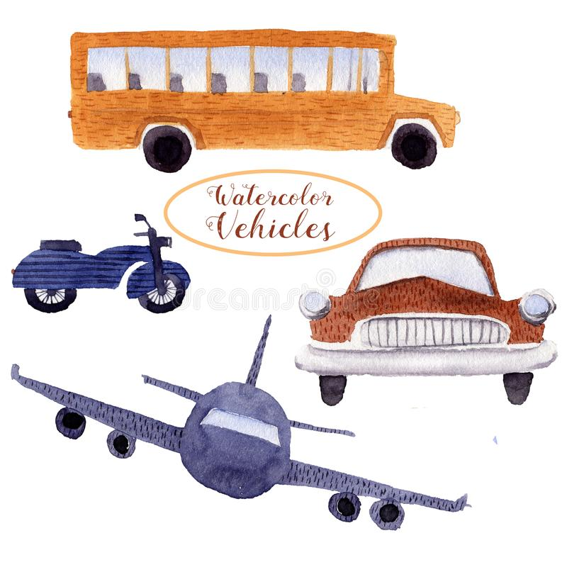 Watercolor objects elements street urban vehicle traffic transport. School bus, bike, retro car, plane, motorbike cartoon stock illustration