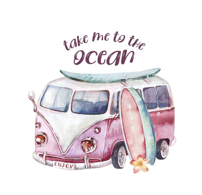 Watercolor ocean surf beach, adventure, bike and motorollier, fun holiday activity, tropical travel illustration. Island. Watercolor surf beach, adventure bike vector illustration
