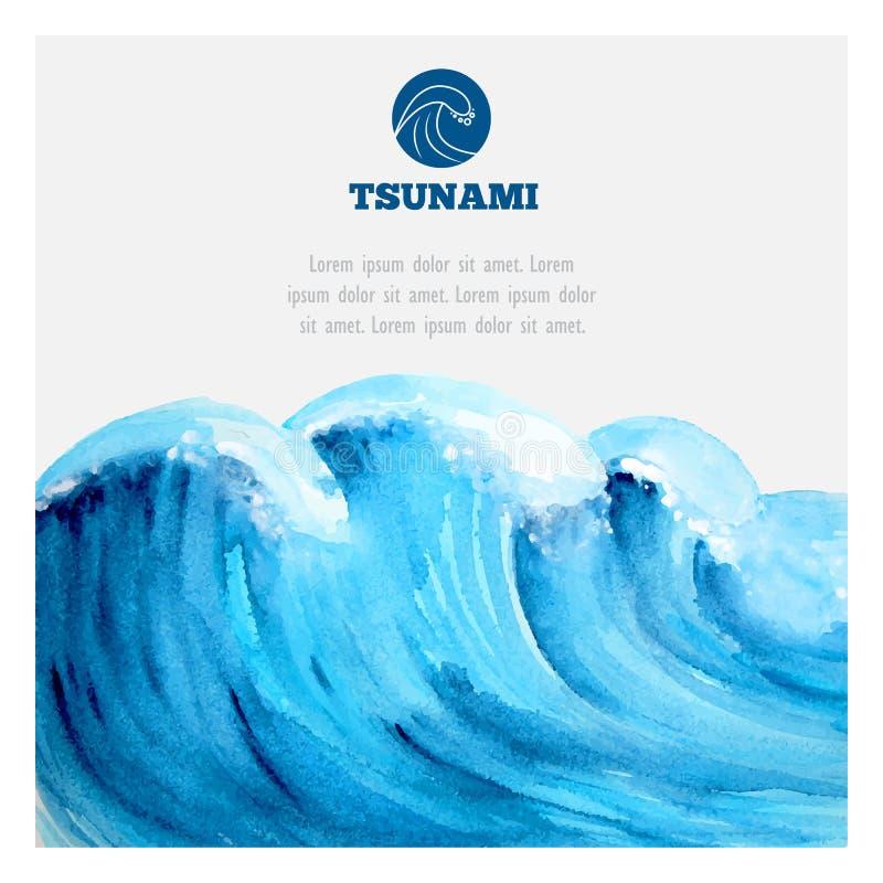 Watercolor ocean tsunami waves vector illustration