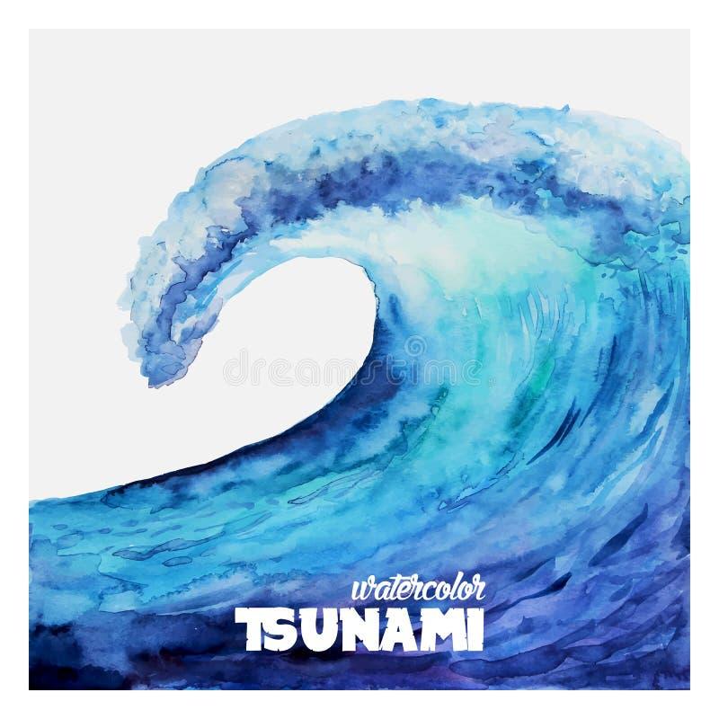 Watercolor ocean tsunami waves. Big blue water vector illustration