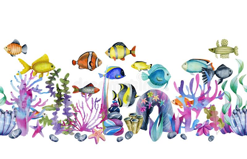 Watercolor oceanic tropical exotic fishes among the corals and sea stones seamless border vector illustration