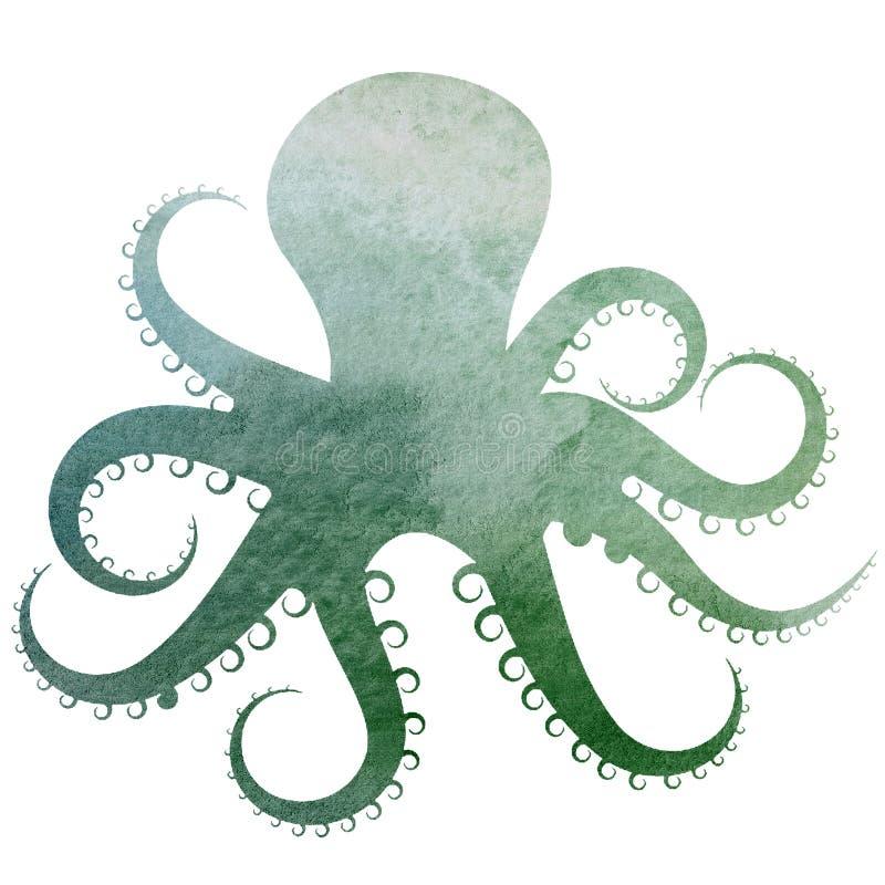 Watercolor Octopus blue green purple illustration. A watercolor Octopus, blue, green, purple illustation vector illustration