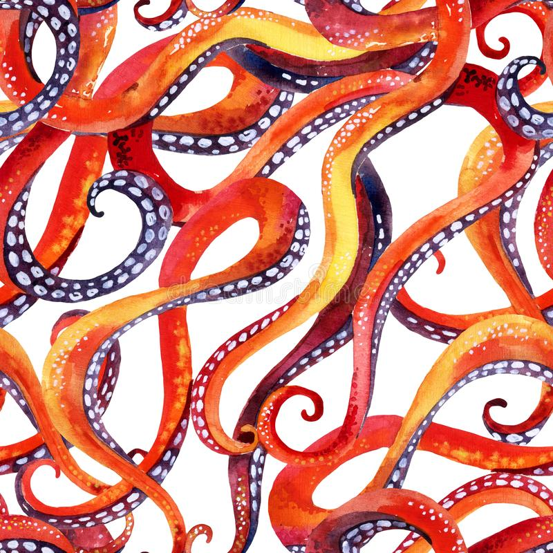 Watercolor octopus tentacles wallpaper. Seamless pattern of octopuses curly tentacles. Hand painted sea animal illustration for marine textile, fabric surface stock illustration