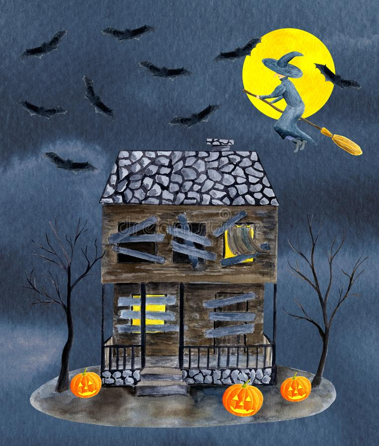 Watercolor old abandoned haunted house with boarded and glowing windows, bare trees, pumpkins, full moon, witch, bats on vector illustration